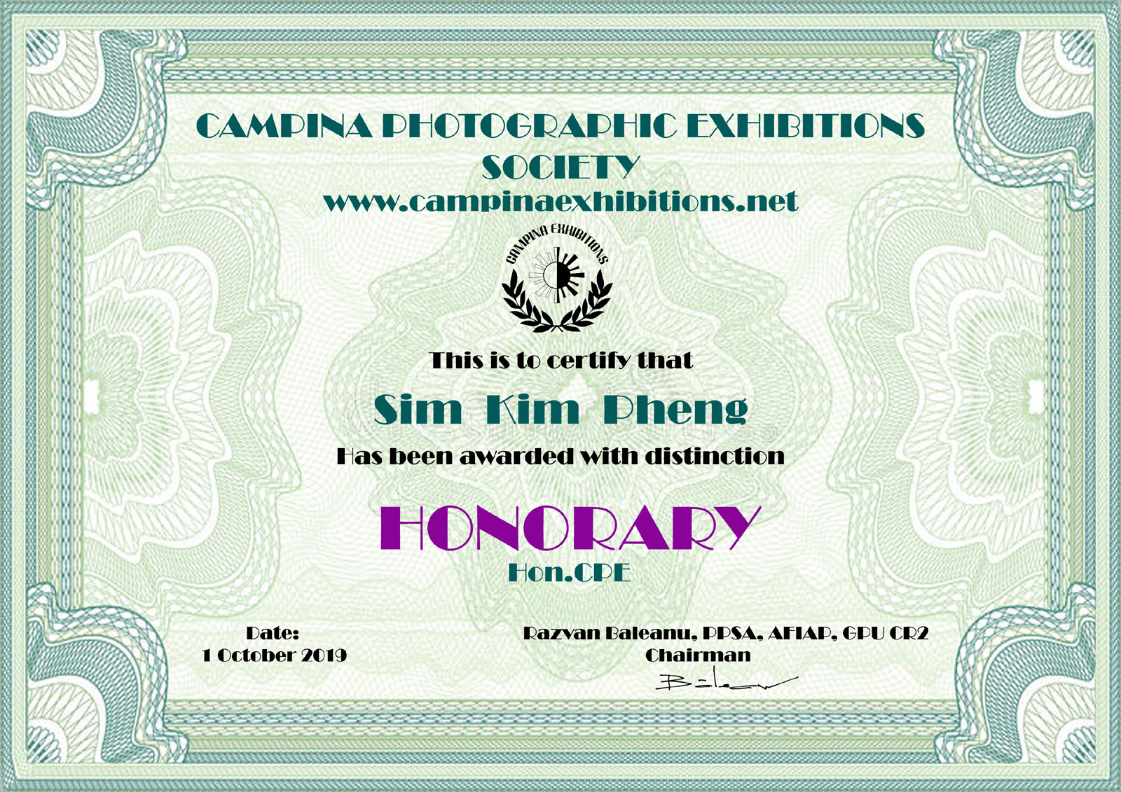 Sim Kim Pheng - HONORARY - Hon.CPE - Campina Photographic Exhibitions Society