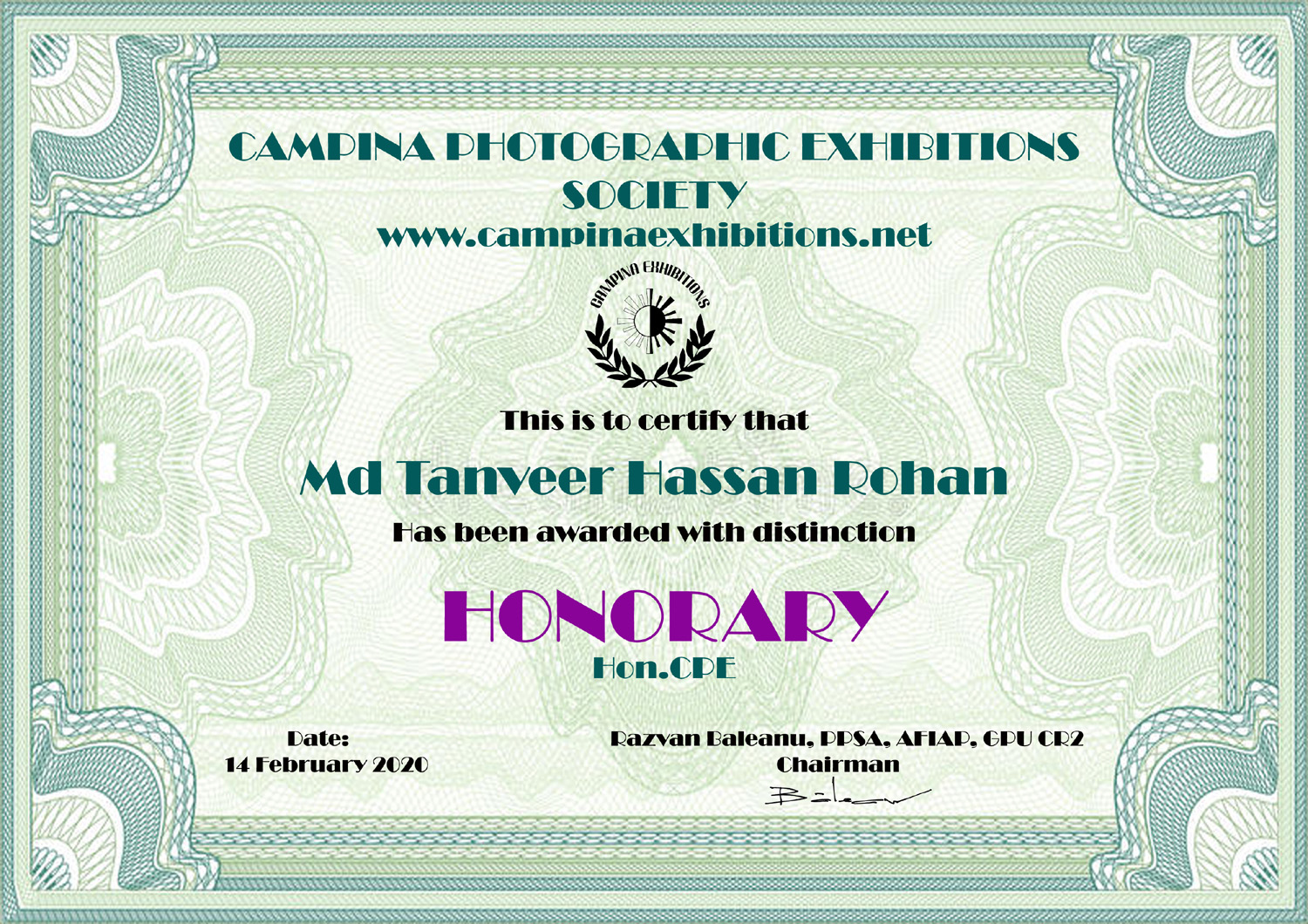 Md Tanveer Hassan Rohan - HONORARY - Hon.CPE - Campina Photographic Exhibitions Society