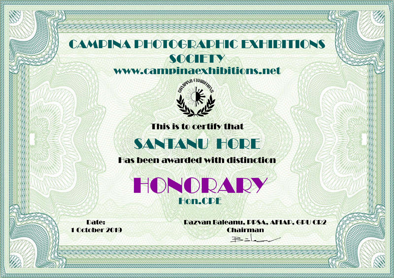 SANTANU HORE - HONORARY - Hon.CPE - Campina Photographic Exhibitions Society