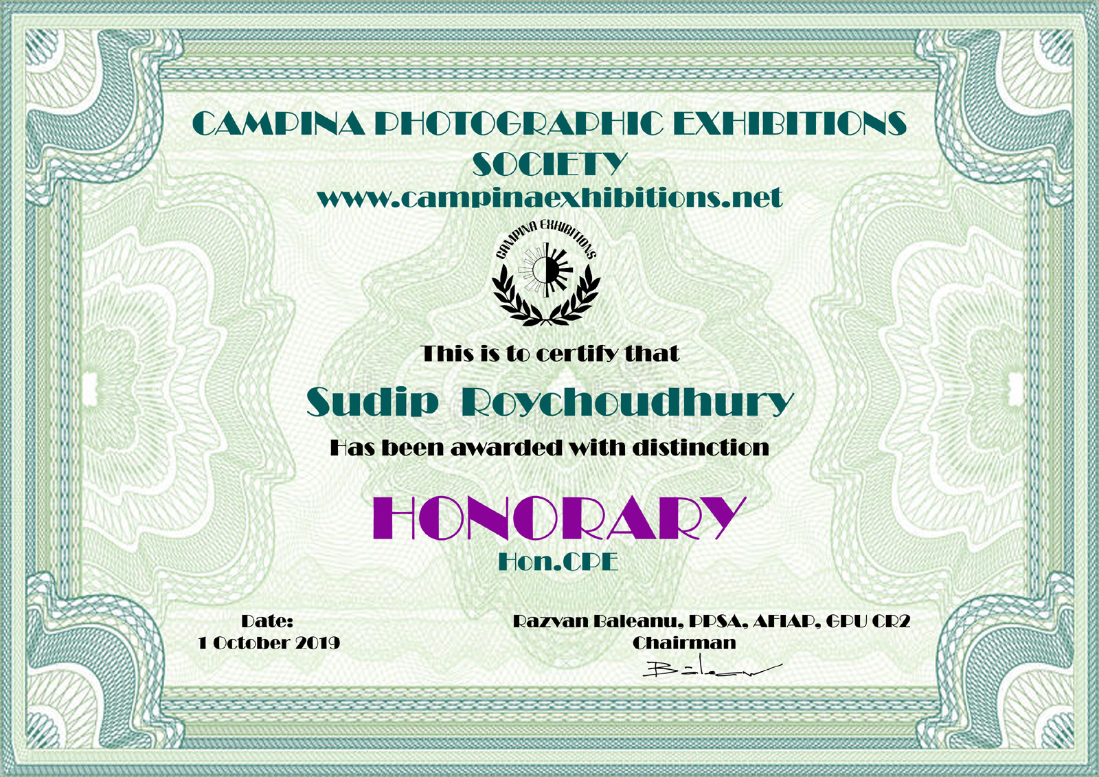 Sudip Roychoudhury - HONORARY - Hon.CPE - Campina Photographic Exhibitions Society