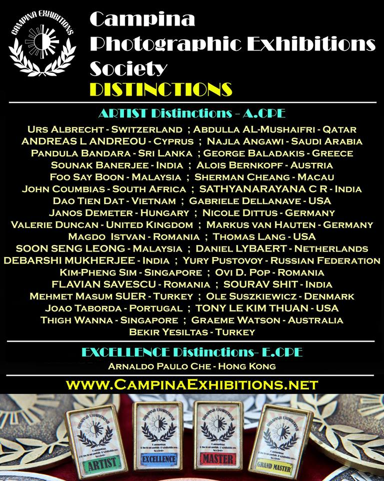 Campina Photographic Exhibitions Society Distinctions Holders!