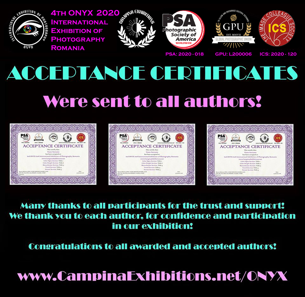 All ACCEPTANCES CERTIFICATES have been sent to the authors - 4th ONYX 2020, Romania