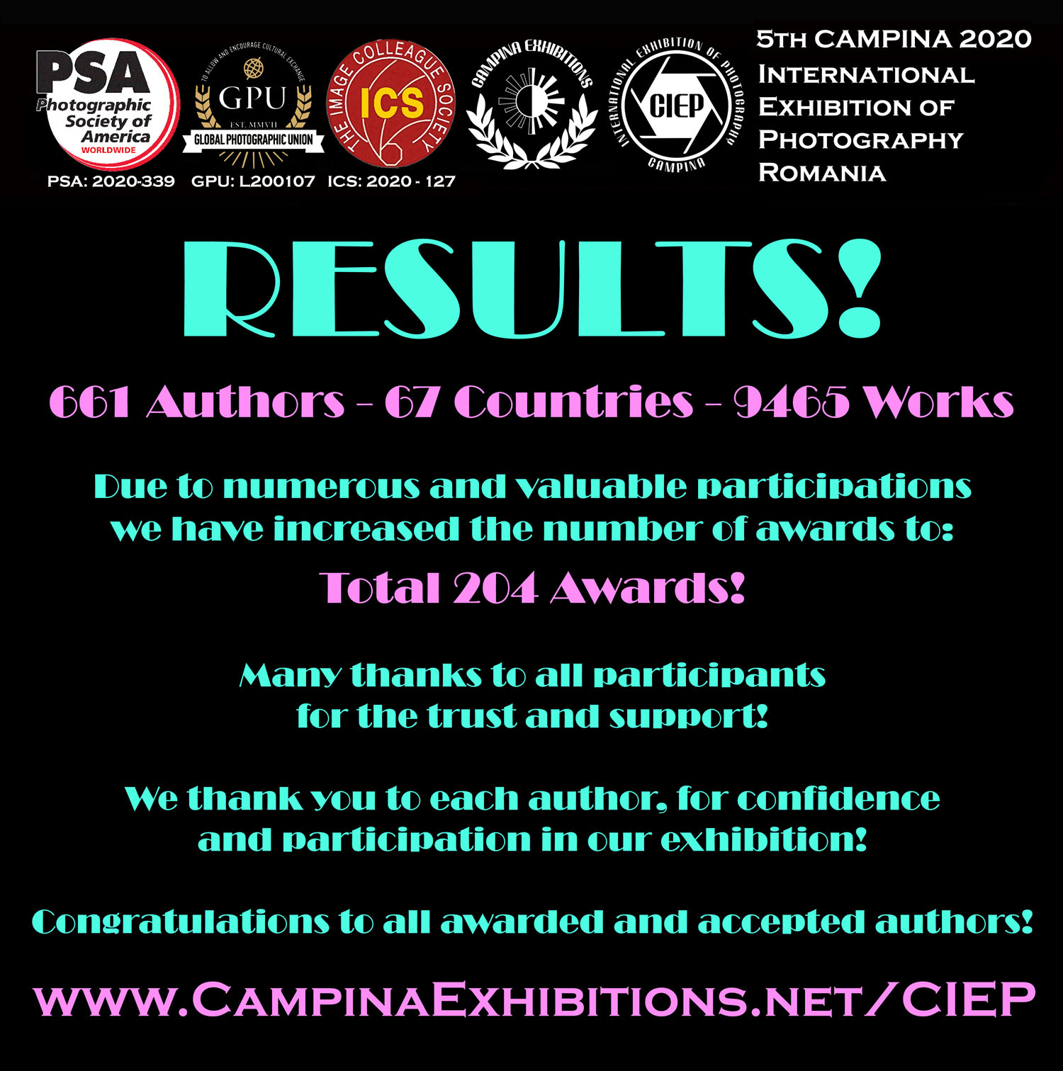 RESULTS - 5th CAMPINA 2020! Published earlier, as we always did!
