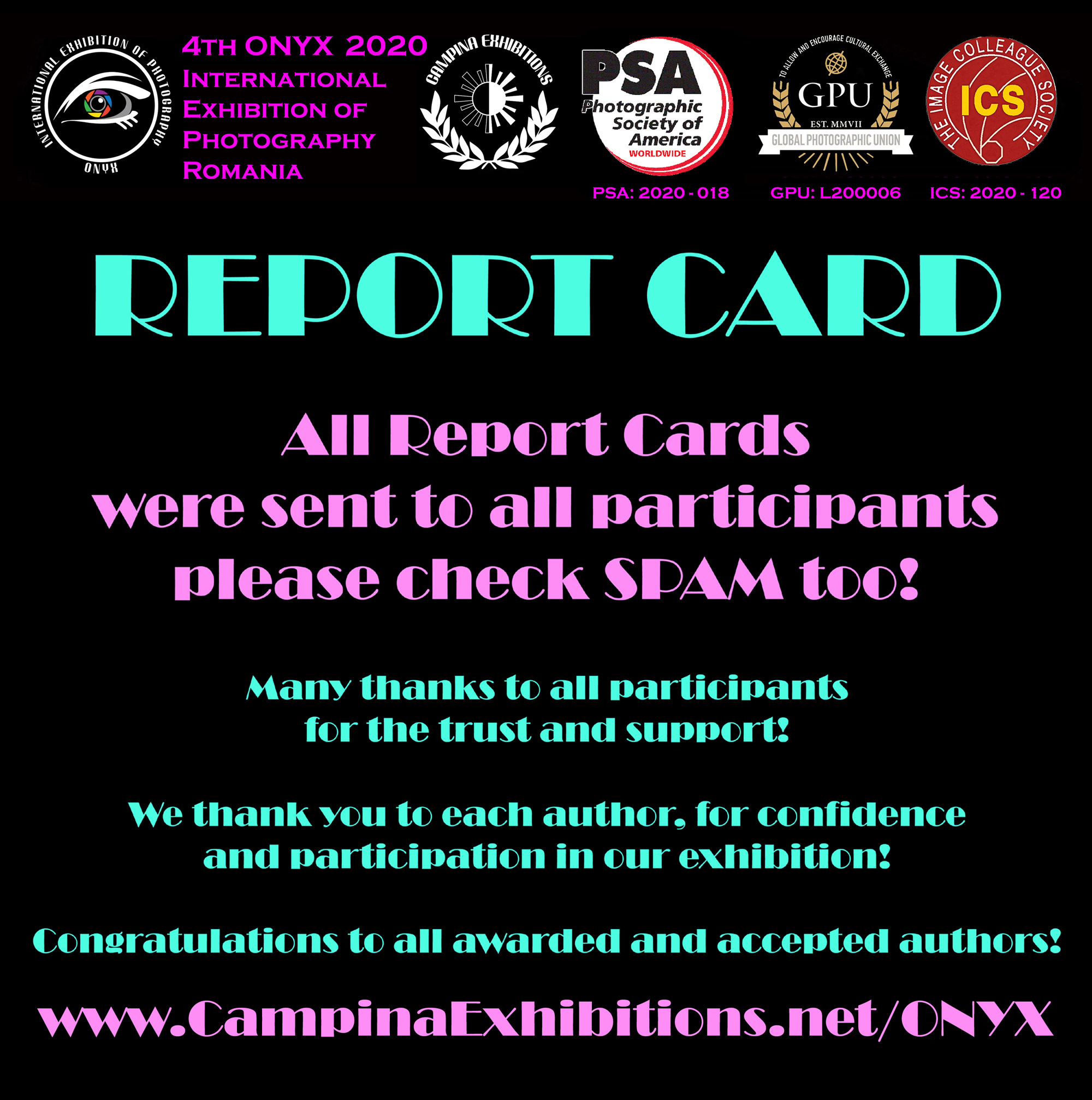 4th ONYX 2020 - All REPORT CARDS have been sent to the authors!